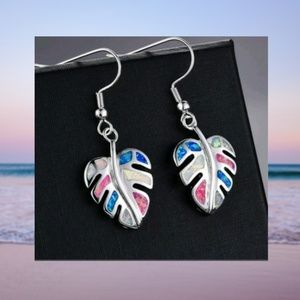 Silver Leaf Earrings with Blue White Pink Accents
